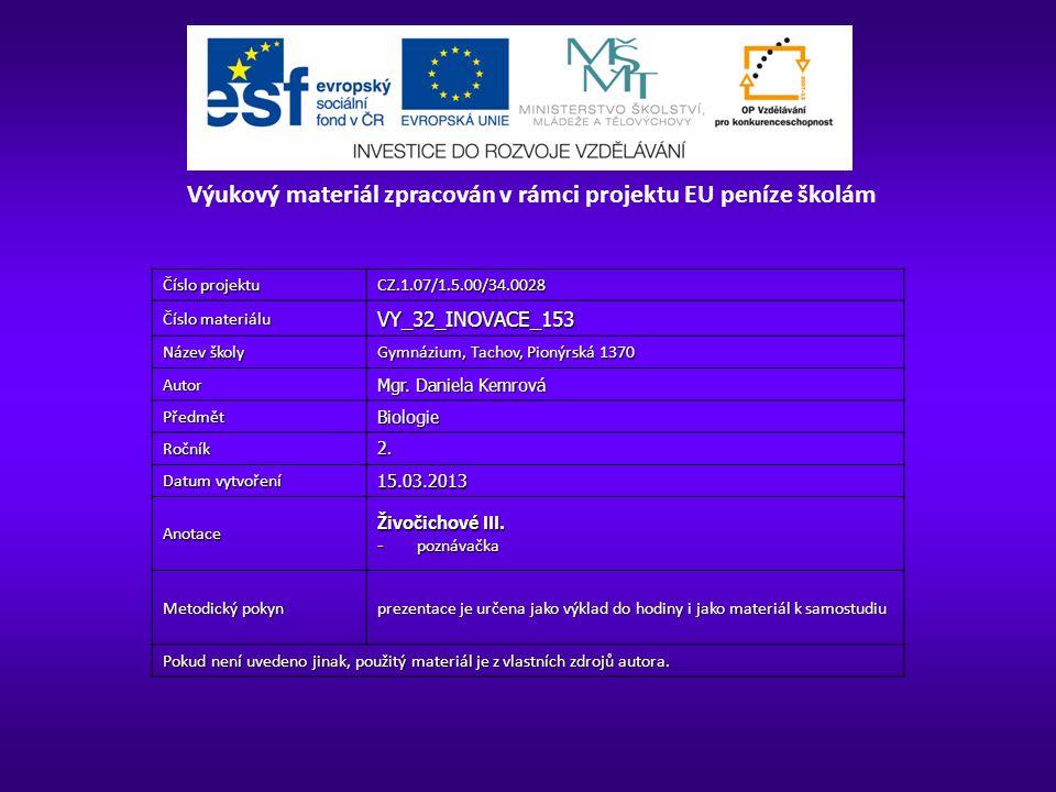 Číslo projektu CZ.1.07/1.5.00/34.0028 Číslo materiálu VY_32_INOVACE_153 Název školy Gymnázium, Tachov, Pionýrská 1370 Autor Mgr.