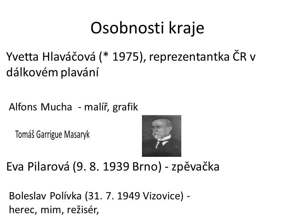 Osobnosti kraje Yvetta Hlaváčová (* 1975), reprezentantka ČR v dálkovém plavání Eva Pilarová (9. 8. 1939 Brno) - zpěvačka Alfons Mucha - malíř, grafik