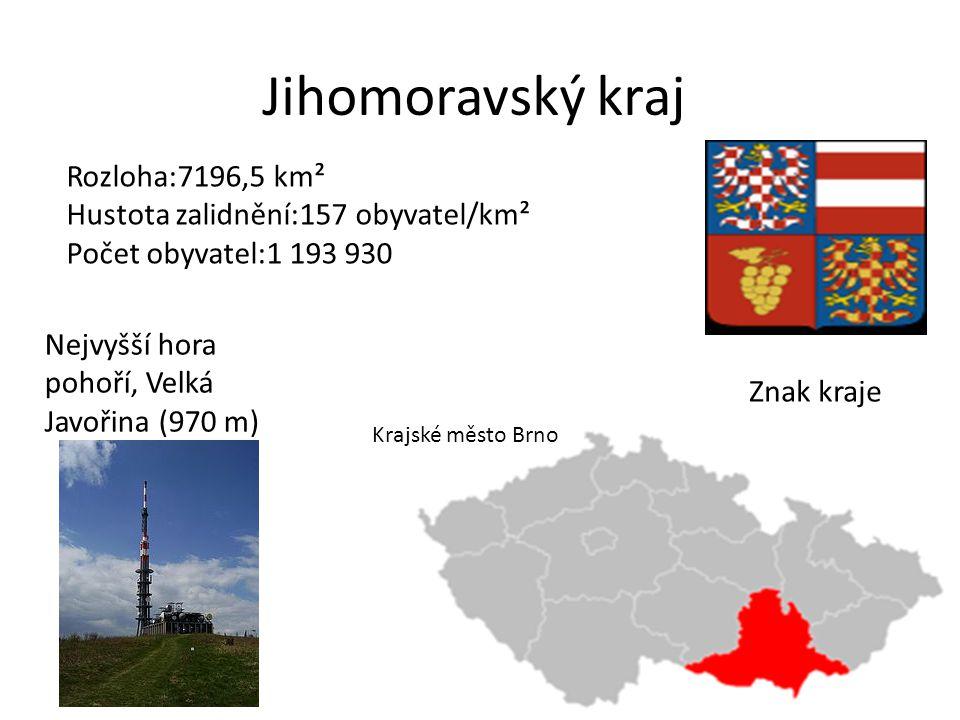 Jihomoravský kraj Znak kraje Rozloha:7196,5 km² Hustota zalidnění:157 obyvatel/km² Počet obyvatel:1 193 930 Nejvyšší hora pohoří, Velká Javořina (970