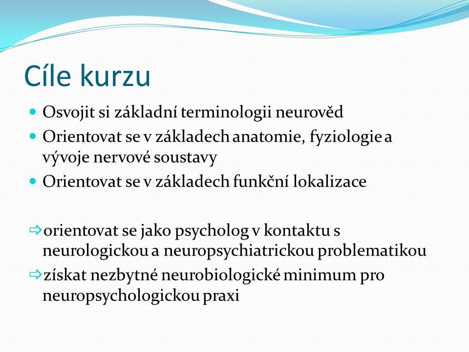 Cíle kurzu Osvojit si základní terminologii neurověd Orientovat se v základech anatomie, fyziologie a vývoje nervové soustavy Orientovat se v základec