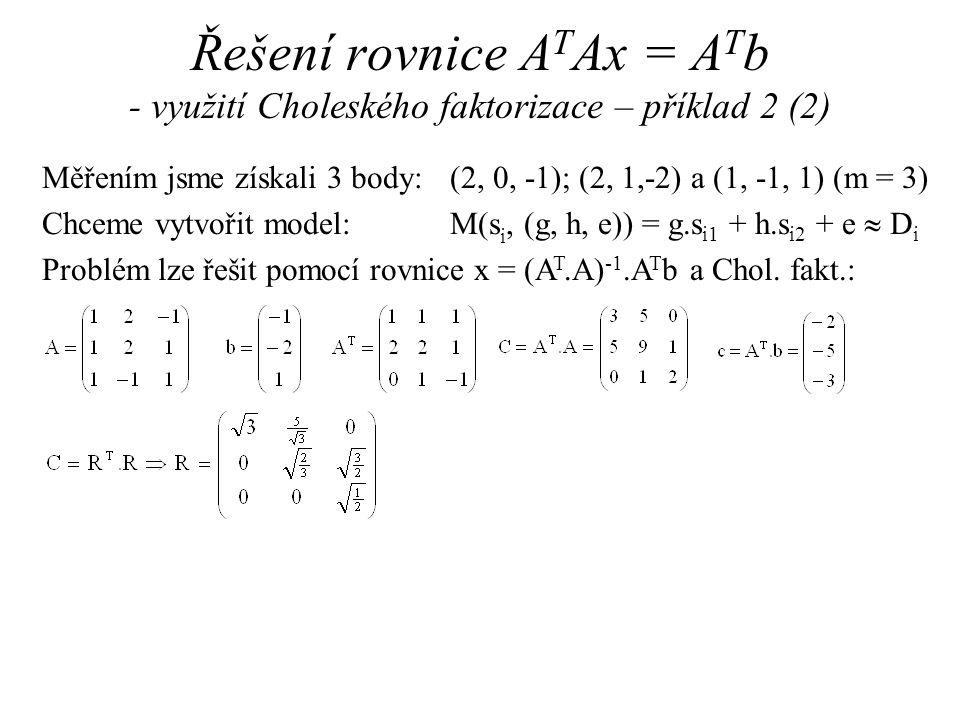 Měřením jsme získali 3 body: (2, 0, -1); (2, 1,-2) a (1, -1, 1) (m = 3) Chceme vytvořit model: M(s i, (g, h, e)) = g.s i1 + h.s i2 + e  D i Problém lze řešit pomocí rovnice x = (A T.A) -1.A T b a Chol.