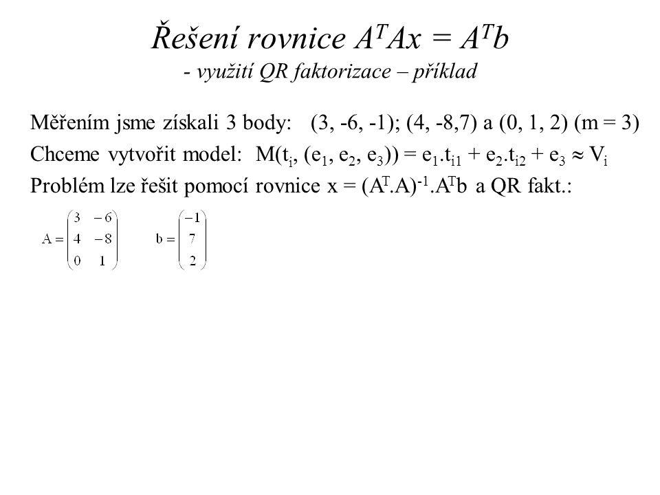 Měřením jsme získali 3 body: (3, -6, -1); (4, -8,7) a (0, 1, 2) (m = 3) Chceme vytvořit model: M(t i, (e 1, e 2, e 3 )) = e 1.t i1 + e 2.t i2 + e 3  V i Problém lze řešit pomocí rovnice x = (A T.A) -1.A T b a QR fakt.: Řešení rovnice A T Ax = A T b - využití QR faktorizace – příklad