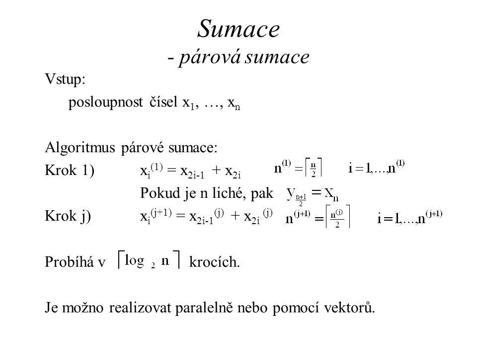 Vstup: posloupnost čísel x 1, …, x n Algoritmus párové sumace: Krok 1)x i (1) = x 2i-1 + x 2i Pokud je n liché, pak Krok j)x i (j+1) = x 2i-1 (j) + x 2i (j) Probíhá v krocích.