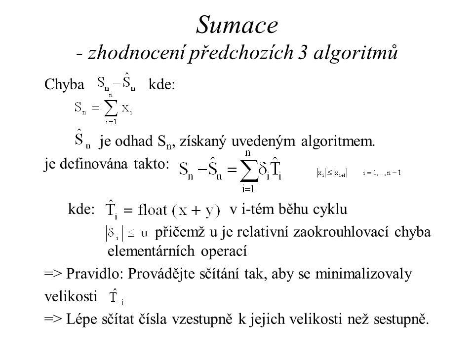 Chyba kde: je odhad S n, získaný uvedeným algoritmem.