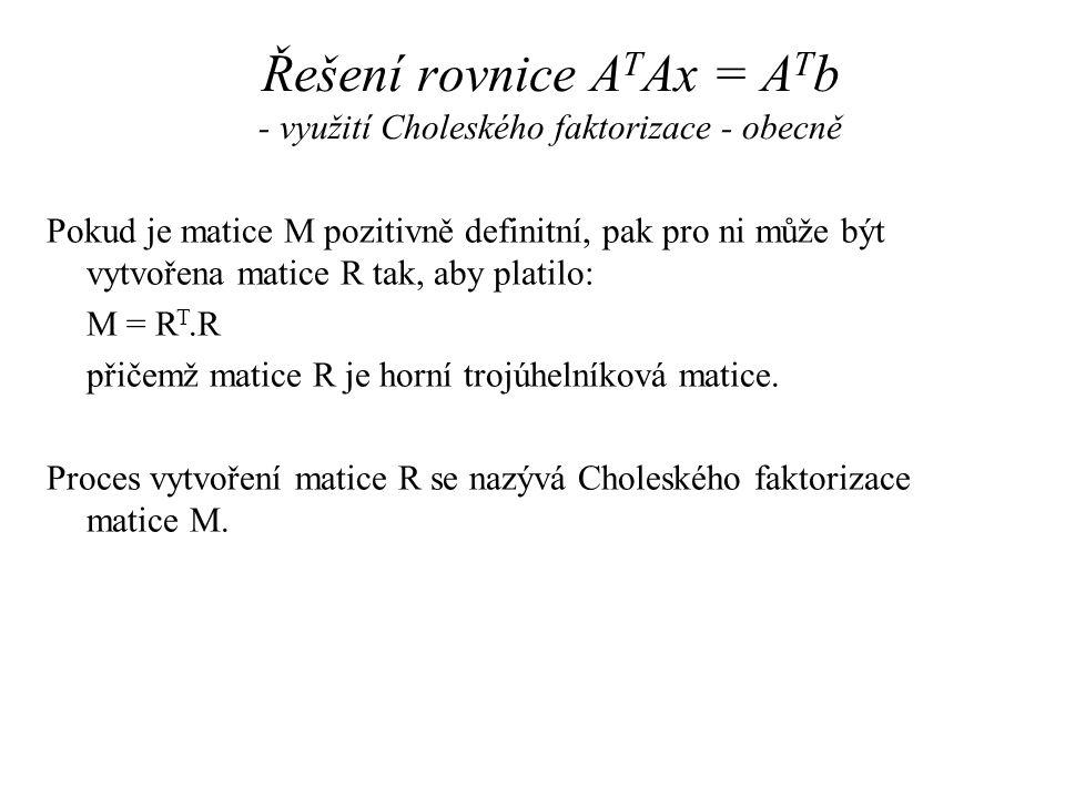 Řešení rovnice A T Ax = A T b - využití Choleského faktorizace – příklad 1 Proveďte Choleského faktorizaci matice M: Řešení: => m 11 = r 11 2 => r 11 = 5 => m 21 = r 11.r 21 => r 21 = m 21 /r 11 = 15/5 = 3 …