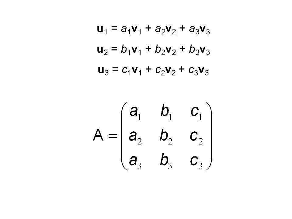 u 1 = a 1 v 1 + a 2 v 2 + a 3 v 3 u 2 = b 1 v 1 + b 2 v 2 + b 3 v 3 u 3 = c 1 v 1 + c 2 v 2 + c 3 v 3 (1, 1, 1) = a 1 (1, 0, 0) + a 2 (0, 1, 0) + a 3 (0, 0, 1) (0, 1, 1) = b 1 (1, 0, 0) + b 2 (0, 1, 0) + b 3 (0, 0, 1) (0, 0, 1) = c 1 (1, 0, 0) + c 2 (0, 1, 0) + c 3 (0, 0, 1)