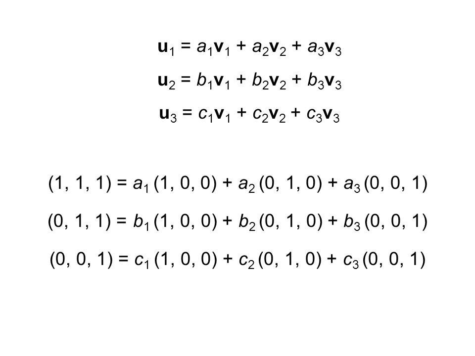 (1, 1, 1) = 1 (1, 0, 0) + 1 (0, 1, 0) + 1 (0, 0, 1) (0, 1, 1) = 0 (1, 0, 0) + 1 (0, 1, 0) + 1 (0, 0, 1) (0, 0, 1) = 0 (1, 0, 0) + 0 (0, 1, 0) + 1 (0, 0, 1)