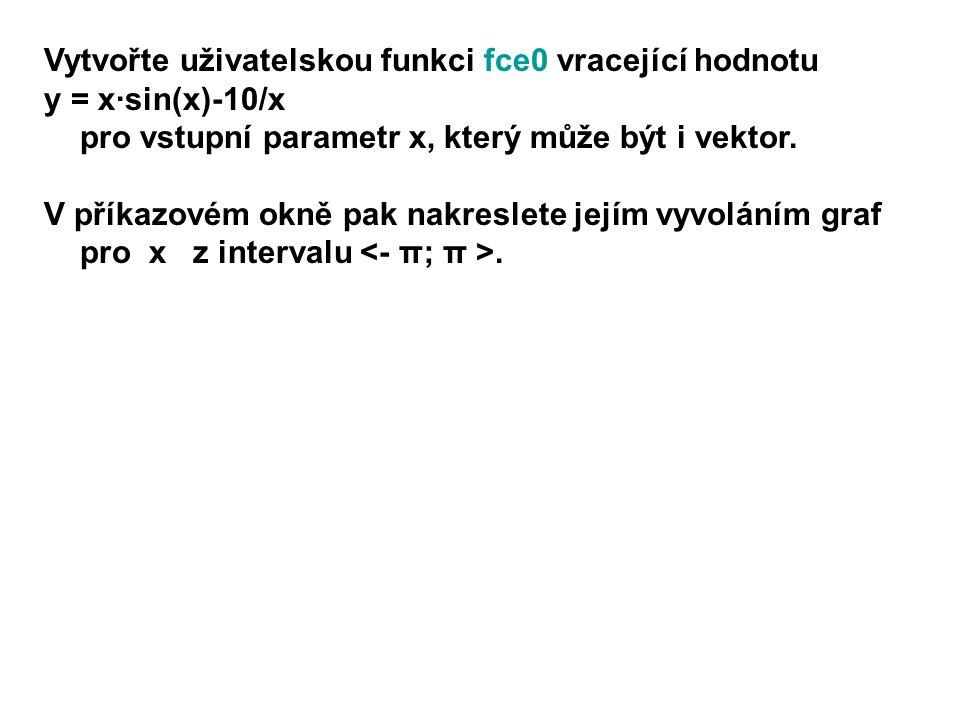 t=0:pi/20:2*pi; y=fce0(t); plot(t,y) function y=fce0(x) y = x.*sin(x)-10./x