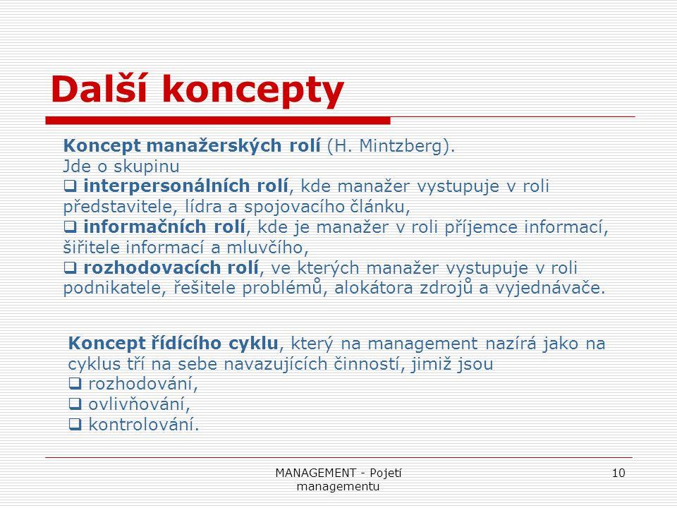 MANAGEMENT - Pojetí managementu 10 Další koncepty Koncept manažerských rolí (H. Mintzberg). Jde o skupinu  interpersonálních rolí, kde manažer vystup