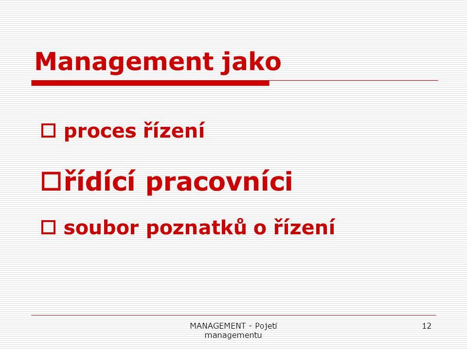 MANAGEMENT - Pojetí managementu 12 Management jako  proces řízení  řídící pracovníci  soubor poznatků o řízení