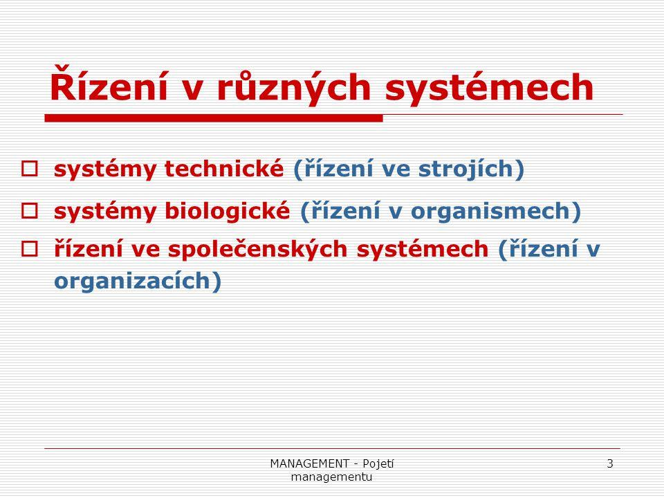 MANAGEMENT - Pojetí managementu 3 Řízení v různých systémech  systémy technické (řízení ve strojích)  systémy biologické (řízení v organismech)  ří