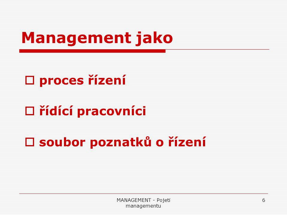 MANAGEMENT - Pojetí managementu 7 Management jako  proces řízení  řídící pracovníci  soubor poznatků o řízení