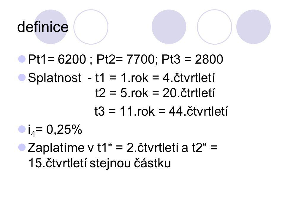 definice Pt1= 6200 ; Pt2= 7700; Pt3 = 2800 Splatnost - t1 = 1.rok = 4.čtvrtletí t2 = 5.rok = 20.čtrtletí t3 = 11.rok = 44.čtvrtletí i 4 = 0,25% Zaplat
