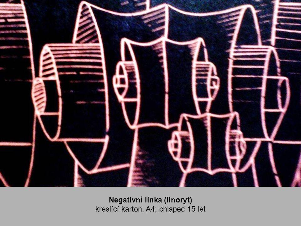 Negativní linka (linoryt) kreslící karton, A4; chlapec 15 let