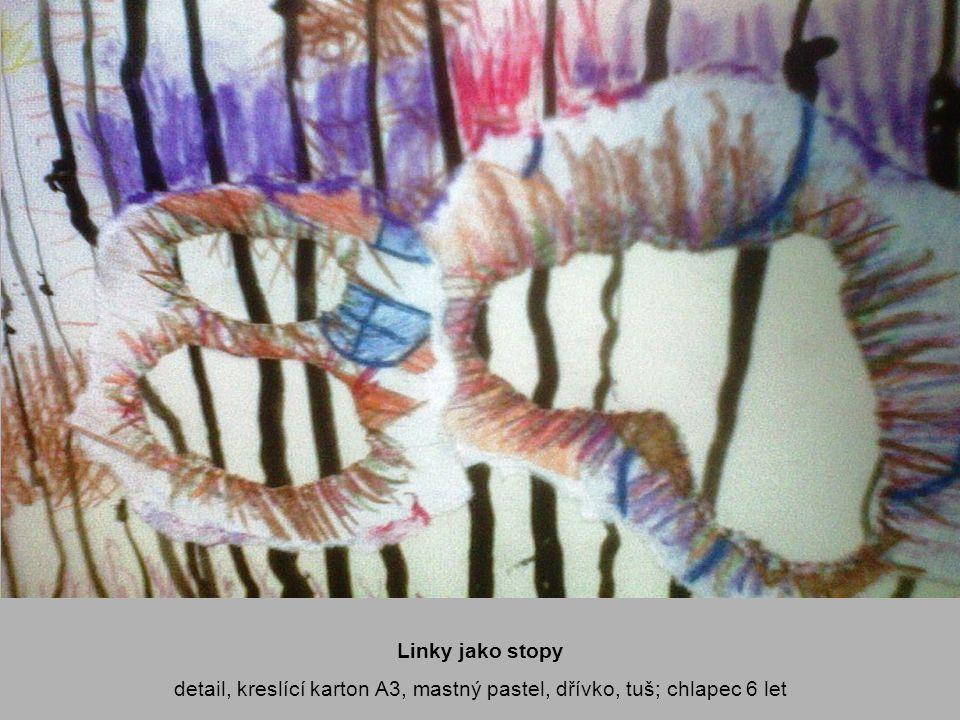 Linky jako stopy detail, kreslící karton A3, mastný pastel, dřívko, tuš; chlapec 6 let