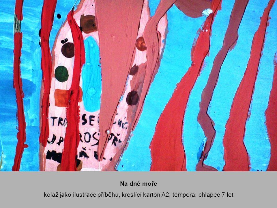 Dívám se do vody záznam představy, kreslící karton A2, propisovací tužka, klovatina, linorytové barvy; děvče 10 let