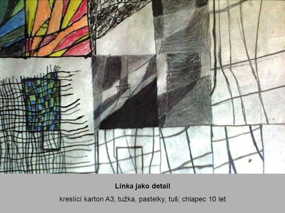 , Pytlovina kresba podle skutečnosti, kreslící karton A3, tuš, tužka; dívka 10 let