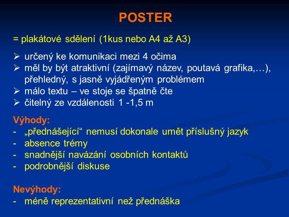 POSTER = plakátové sdělení (1kus nebo A4 až A3)  určený ke komunikaci mezi 4 očima  měl by být atraktivní (zajímavý název, poutavá grafika,…), přehl