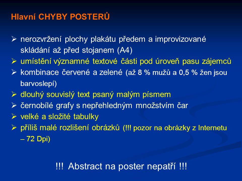 Hlavní CHYBY POSTERŮ  nerozvržení plochy plakátu předem a improvizované skládání až před stojanem (A4)  umístění významné textové části pod úroveň p