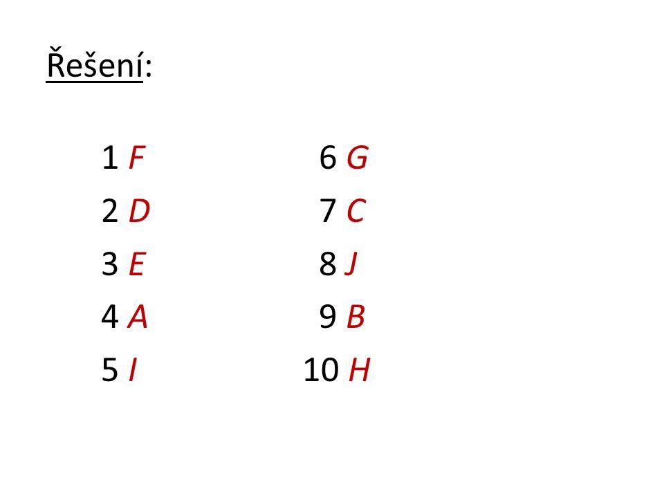 Řešení: 1 F 2 D 3 E 4 A 5 I 6 G 7 C 8 J 9 B 10 H