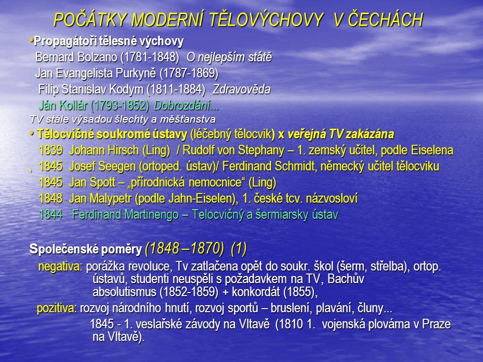 POČÁTKY MODERNÍ TĚLOVÝCHOVY V ČECHÁCH (1848 – 1870) (2) Vznik a vývoj Sokola do r.