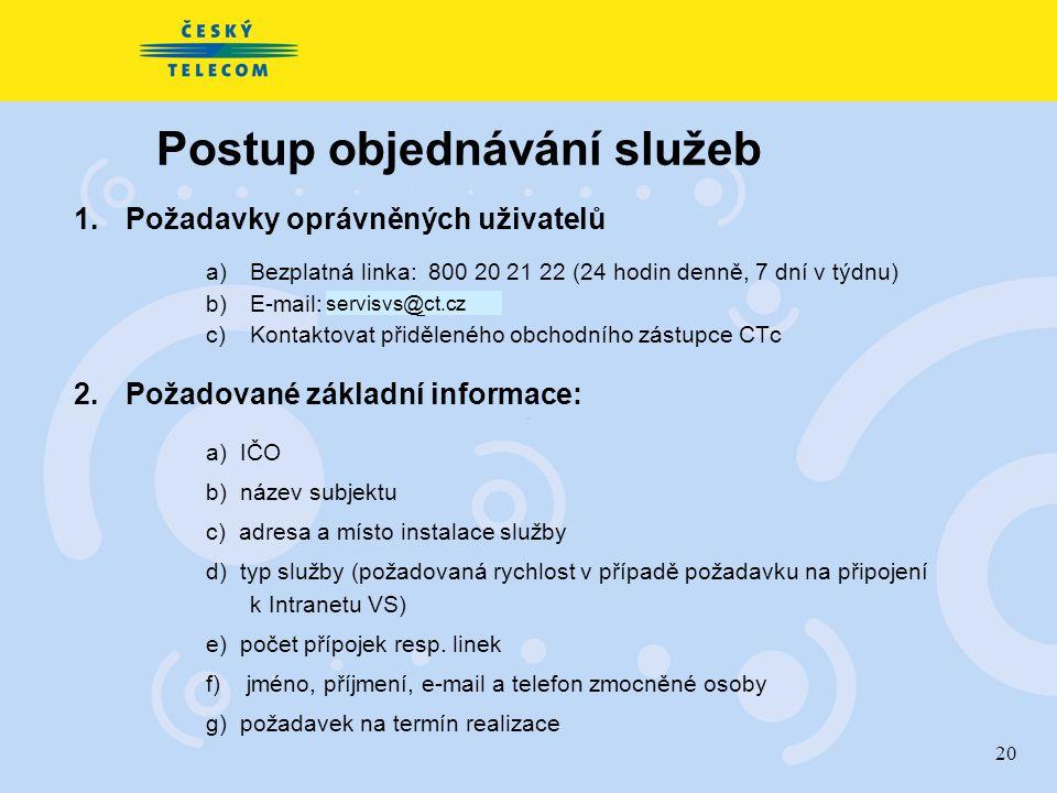 20 Postup objednávání služeb 1. Požadavky oprávněných uživatelů a)Bezplatná linka: 800 20 21 22 (24 hodin denně, 7 dní v týdnu) b)E-mail: sevisvs@ct.c