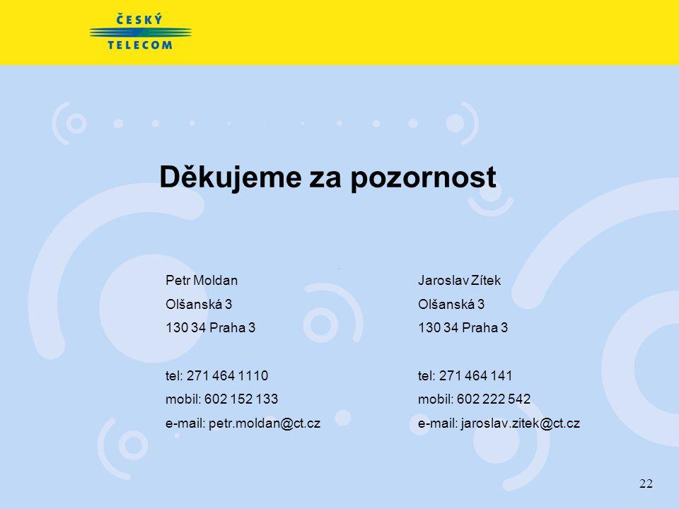 22 Děkujeme za pozornost Petr Moldan Olšanská 3 130 34 Praha 3 tel: 271 464 1110 mobil: 602 152 133 e-mail: petr.moldan@ct.cz Jaroslav Zítek Olšanská
