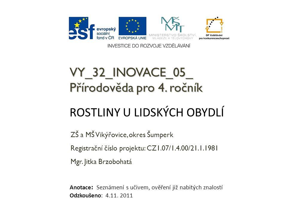 VY_32_INOVACE_05_ Přírodověda pro 4. ročník ZŠ a MŠ Vikýřovice, okres Šumperk Registrační číslo projektu: CZ1.07/1.4.00/21.1.1981 Mgr. Jitka Brzobohat