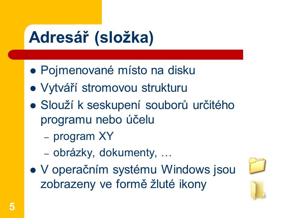 Adresář (složka) Pojmenované místo na disku Vytváří stromovou strukturu Slouží k seskupení souborů určitého programu nebo účelu – program XY – obrázky