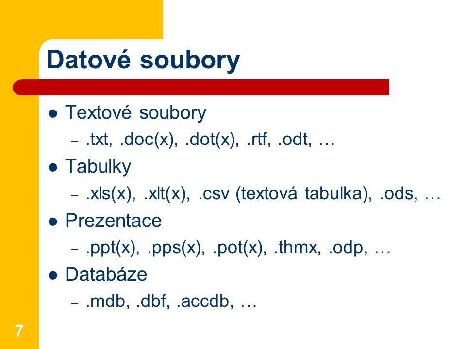 Datové soubory Textové soubory –.txt,.doc(x),.dot(x),.rtf,.odt, … Tabulky –.xls(x),.xlt(x),.csv (textová tabulka),.ods, … Prezentace –.ppt(x),.pps(x),