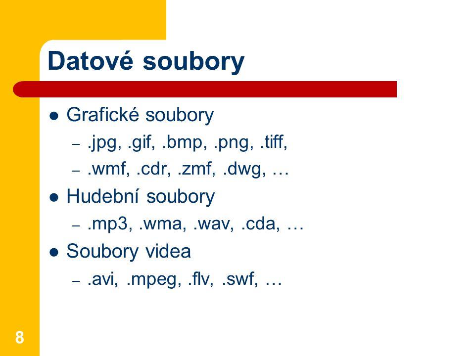 Datové soubory Grafické soubory –.jpg,.gif,.bmp,.png,.tiff, –.wmf,.cdr,.zmf,.dwg, … Hudební soubory –.mp3,.wma,.wav,.cda, … Soubory videa –.avi,.mpeg,