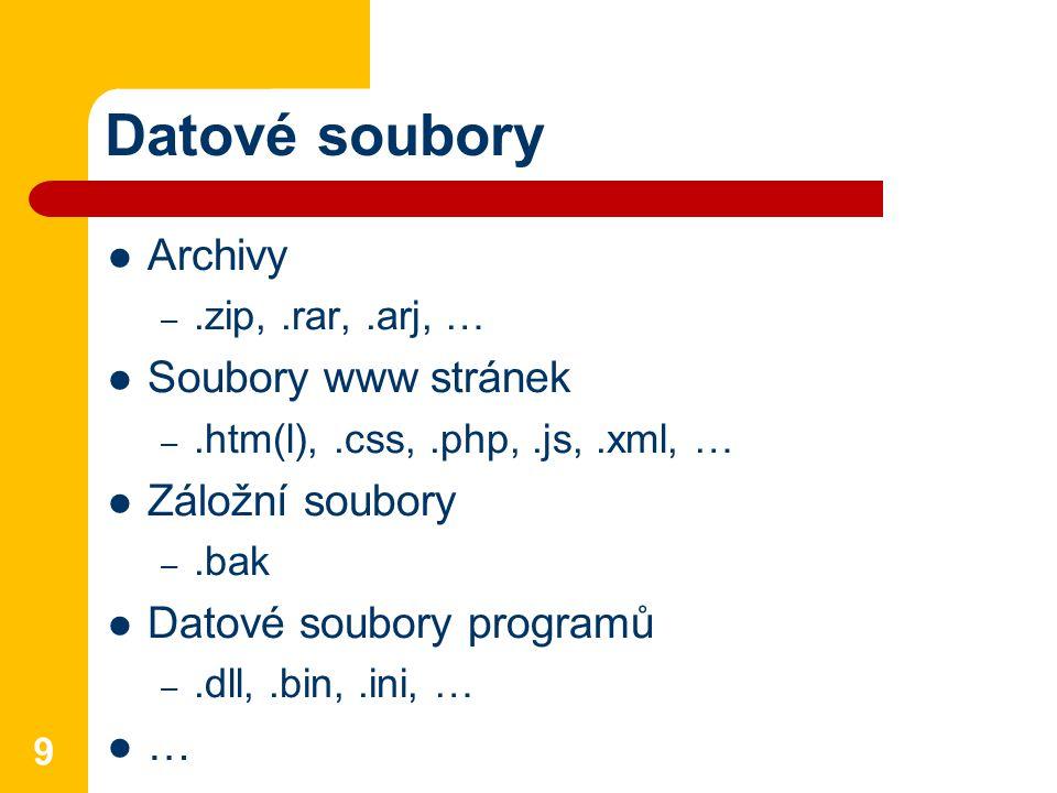 Datové soubory Archivy –.zip,.rar,.arj, … Soubory www stránek –.htm(l),.css,.php,.js,.xml, … Záložní soubory –.bak Datové soubory programů –.dll,.bin,