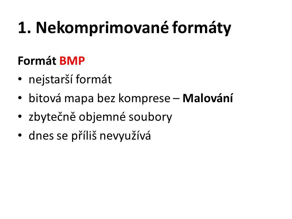 1. Nekomprimované formáty Formát BMP nejstarší formát bitová mapa bez komprese – Malování zbytečně objemné soubory dnes se příliš nevyužívá