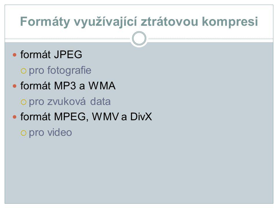 Formáty využívající ztrátovou kompresi formát JPEG  pro fotografie formát MP3 a WMA  pro zvuková data formát MPEG, WMV a DivX  pro video