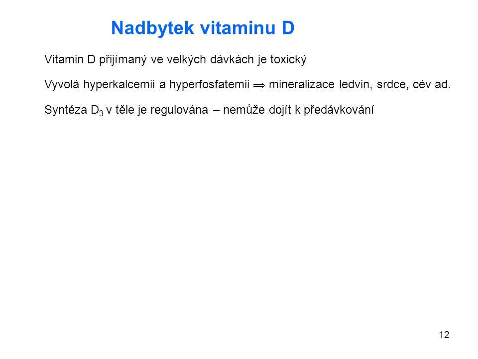 12 Nadbytek vitaminu D Vitamin D přijímaný ve velkých dávkách je toxický Vyvolá hyperkalcemii a hyperfosfatemii  mineralizace ledvin, srdce, cév ad.