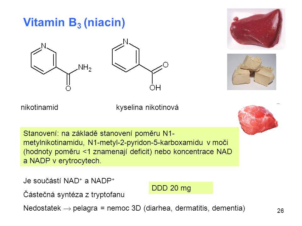 26 Vitamin B 3 (niacin) nikotinamidkyselina nikotinová Je součástí NAD + a NADP + Částečná syntéza z tryptofanu Nedostatek  pelagra = nemoc 3D (diarh