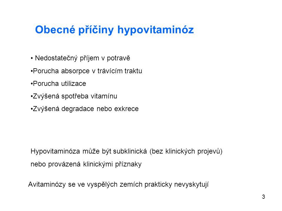3 Obecné příčiny hypovitaminóz Nedostatečný příjem v potravě Porucha absorpce v trávícím traktu Porucha utilizace Zvýšená spotřeba vitamínu Zvýšená de