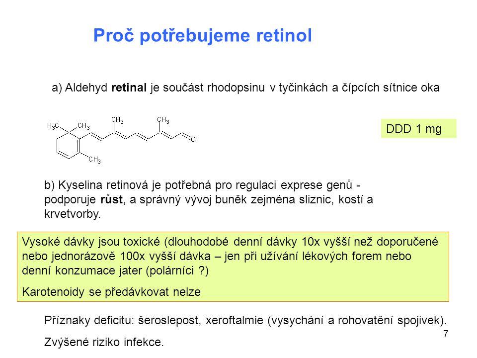 7 Proč potřebujeme retinol a) Aldehyd retinal je součást rhodopsinu v tyčinkách a čípcích sítnice oka b) Kyselina retinová je potřebná pro regulaci ex
