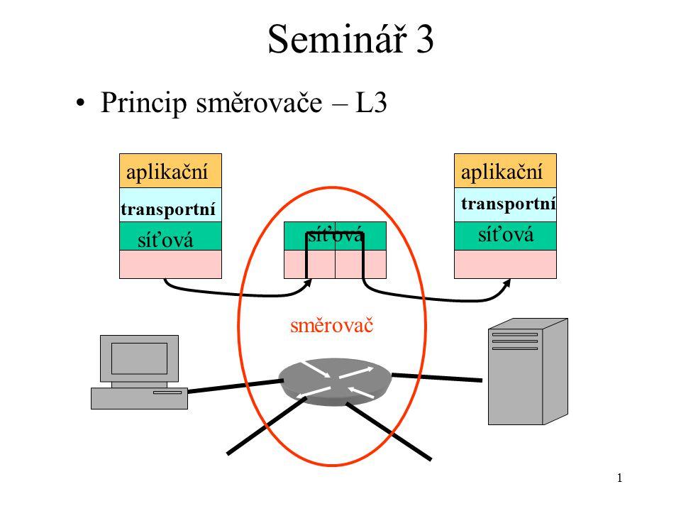 1 Seminář 3 Princip směrovače – L3 síťová transportní aplikační směrovač