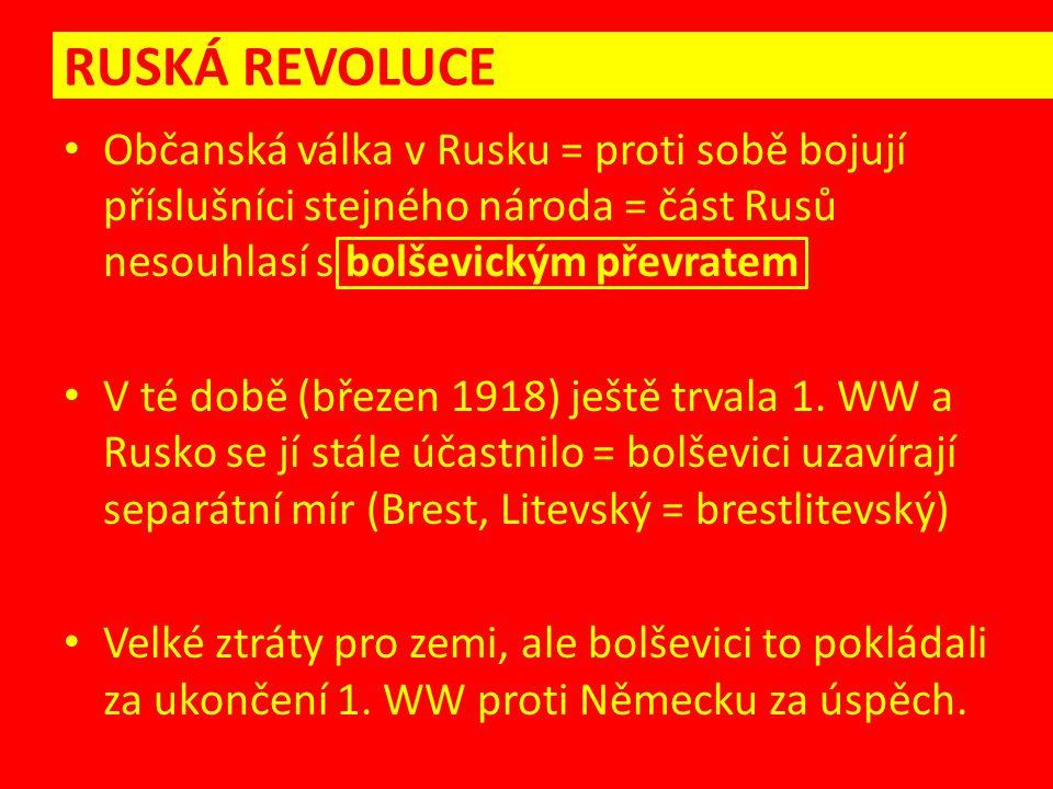 RUSKÁ REVOLUCE – občanská válka Rudá armáda teror, pronásledování odpůrců, zabíjení ČEKA – tajná policie Gulagy = koncentrační tábory Bílá garda zastánci cara a bývalého režimu bílé uniformy