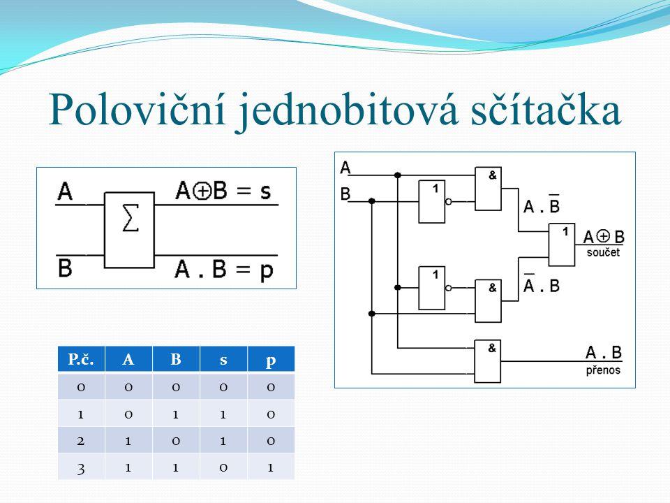 Poloviční jednobitová sčítačka P.č.ABsp 00000 10110 21010 31101