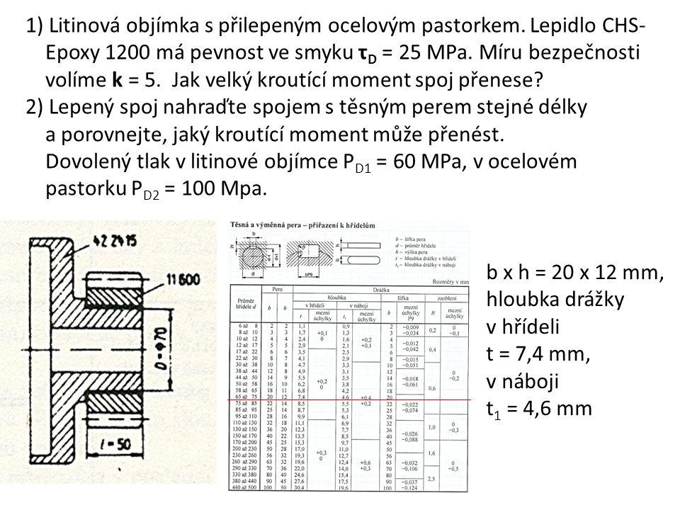 1) Litinová objímka s přilepeným ocelovým pastorkem. Lepidlo CHS- Epoxy 1200 má pevnost ve smyku τ D = 25 MPa. Míru bezpečnosti volíme k = 5. Jak velk
