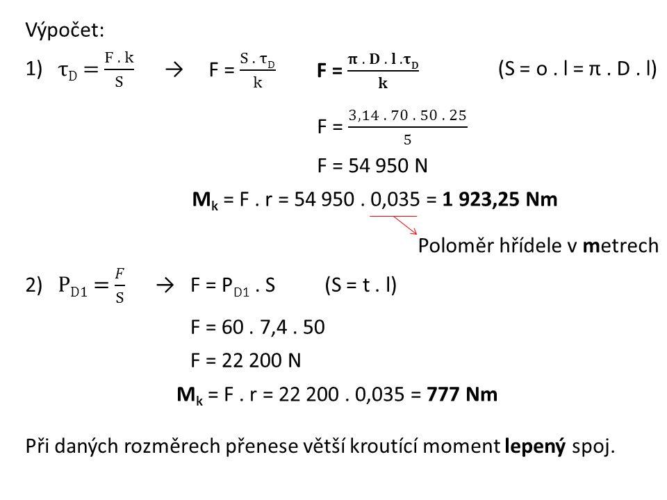Výpočet: F = 60. 7,4. 50 F = 22 200 N M k = F. r = 22 200. 0,035 = 777 Nm F = P D1. S F = 54 950 N M k = F. r = 54 950. 0,035 = 1 923,25 Nm 1) 2) (S =