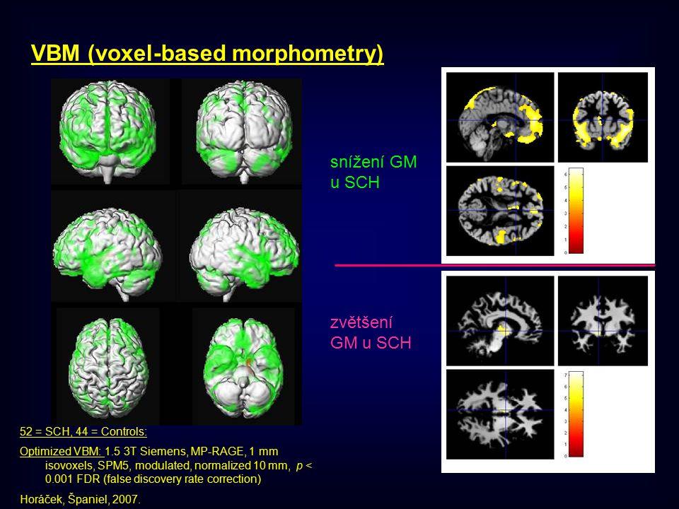 VBM (voxel-based morphometry) 52 = SCH, 44 = Controls: Optimized VBM: 1.5 3T Siemens, MP-RAGE, 1 mm isovoxels, SPM5, modulated, normalized 10 mm, p < 0.001 FDR (false discovery rate correction) Horáček, Španiel, 2007.