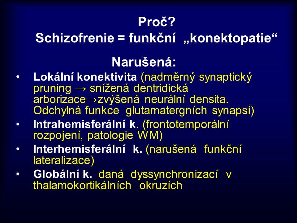"""Proč? Schizofrenie = funkční """"konektopatie"""" Narušená: Lokální konektivita (nadměrný synaptický pruning → snížená dentridická arborizace→zvýšená neurál"""