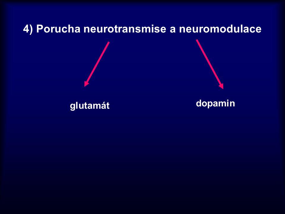 4) Porucha neurotransmise a neuromodulace glutamát dopamin
