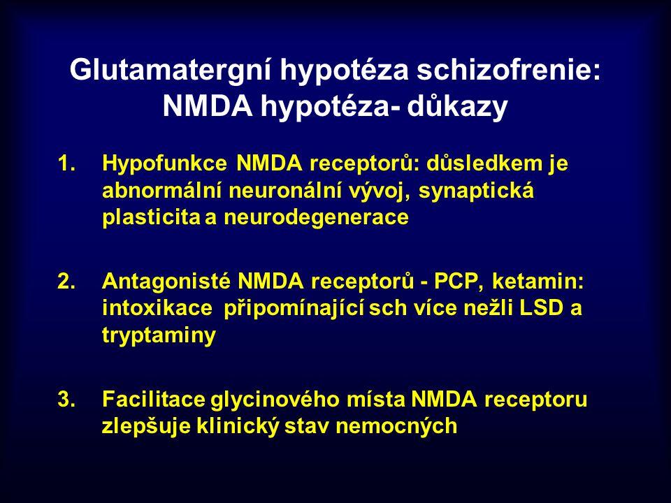 Glutamatergní hypotéza schizofrenie: NMDA hypotéza- důkazy 1.Hypofunkce NMDA receptorů: důsledkem je abnormální neuronální vývoj, synaptická plasticit
