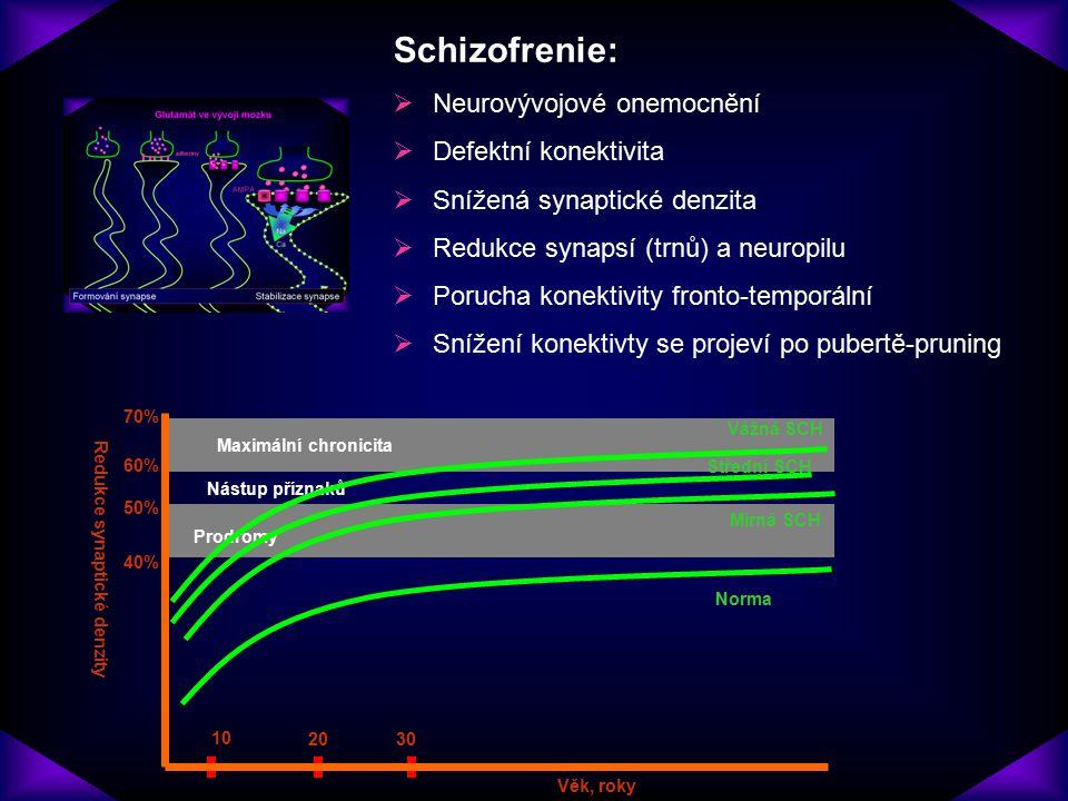 Schizofrenie:  Neurovývojové onemocnění  Defektní konektivita  Snížená synaptické denzita  Redukce synapsí (trnů) a neuropilu  Porucha konektivit
