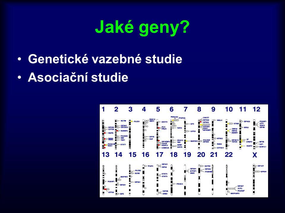 Jaké geny? Genetické vazebné studie Asociační studie
