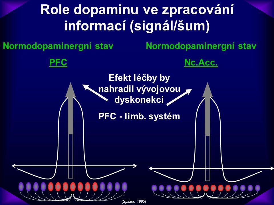 Role dopaminu ve zpracování informací (signál/šum) Normodopaminergní stav PFC Normodopaminergní stav Nc.Acc. (Spitzer, 1995) Efekt léčby by nahradil v